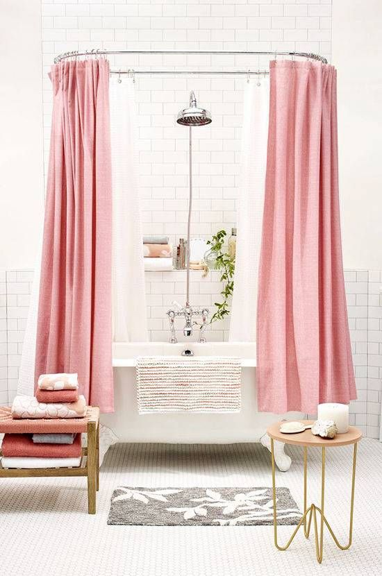 20 Clever Ways To Organize A Tiny Bathroom. Pink Shower CurtainsPink ...
