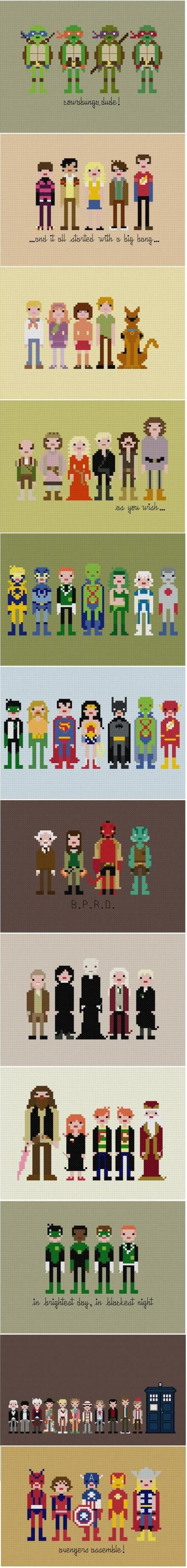 Cross Stitch of various tv shows, movies and characters... fandom!