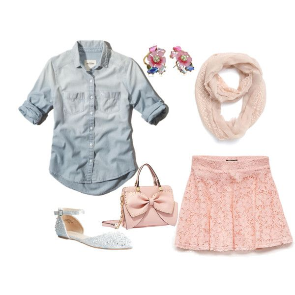 A fashion look from October 2014 featuring sparkly flats, pink studded purse and pink jewelry. Browse and shop related looks.