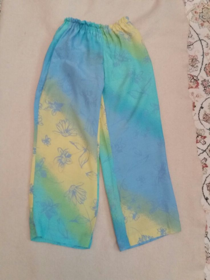 Girl's trousers recycled from old dress
