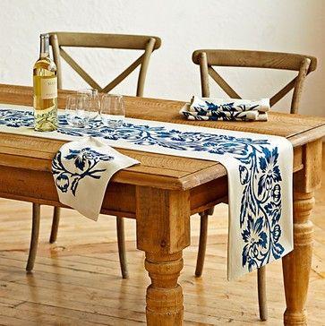 Vine Block Print Table Runner contemporary-tablecloths