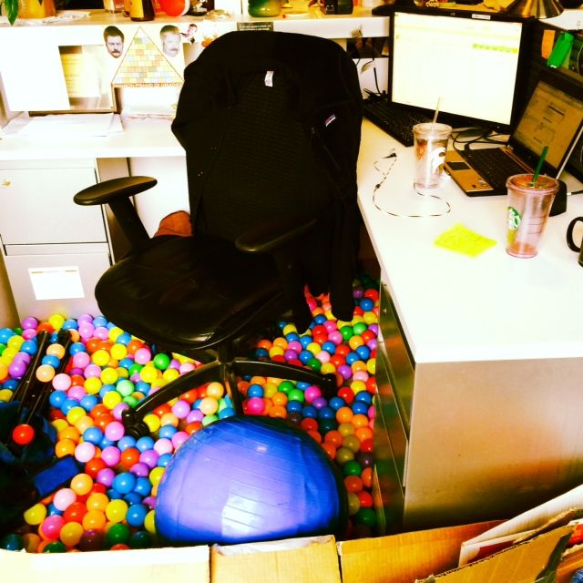 April Fool's Day ball pit at someone's desk
