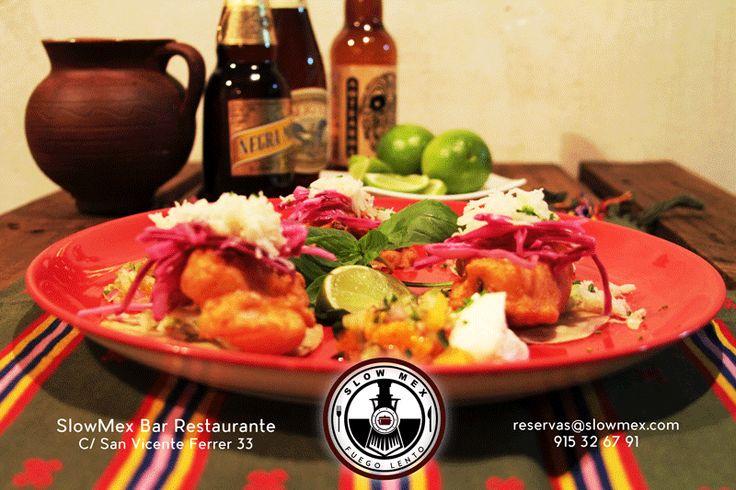 #tacos - Pescado frito en especias cajún con pico de cítricos y salsa de menta - SlowMex madrid