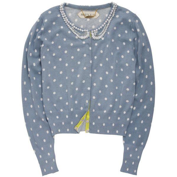 前立てボタンのアクセントに注目☆ 七分袖スキッパーシャツ ❤ liked on Polyvore featuring tops, cardigans, sweaters, outerwear, blue cardigan and blue top