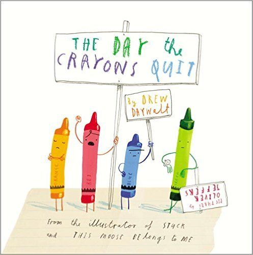 """The Day the Crayons Quit"", by Drew Daywalt, illustrated by Oliver Jeffers - 	Poor Duncan just wants to colour in. But when he opens his box of crayons, he only finds letters, all saying the same thing: We quit! Beige is tired of playing second fiddle to Brown, Blue needs a break from colouring in all that water, while Pink just wants to be used. Green has no complaints, but Orange and Yellow are no longer speaking to each other. What is Duncan to do? (See also ""The Day the Crayons Came…"