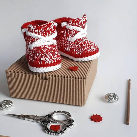 Red Baby Crochet Shoes - Cotton Crib Shoes - Unisex Baby Sneakers - Newborn Gifts - Crochet Baby Sneakers - Baby Shower Idea - Red Booties