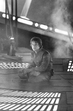 "Mark Hamill (Luke Skywalker) behind the scenes of ""Star Wars Episode V: The Empire Strikes Back"""