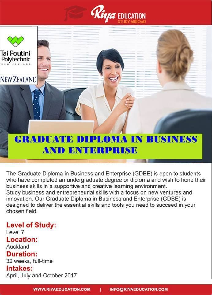 Study Graduate Diploma in Business and Enterprise from Tai Poutini Polytechnic , NZ. Visit our website for contact details http://www.riyaeducation.com/contact/ #studyabroad #studyinnewzealand #overseaseducation
