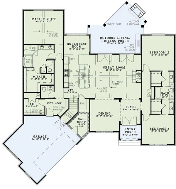 Plan 60617nd split bedroom home plan with angled garage for Split bedroom floor plans