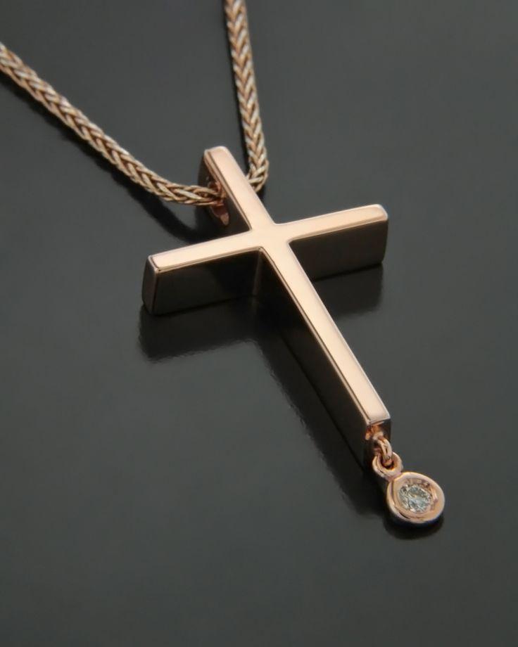 Σταυρός ροζ χρυσός Κ14 με Ζιργκόν | eleftheriouonline.gr