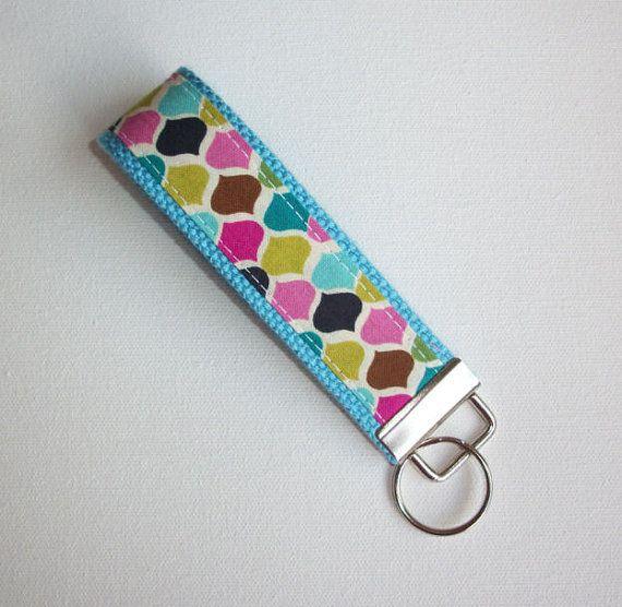 Key FOB / KeyChain / Wristlet - candy jewels trellis on