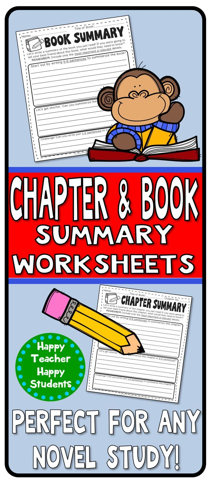 Book Summary & Chapter Summary worksheets to teach your students how to focus on main idea in order to learn how to summarize! Students start off by writing a 5-6 sentence summary, then condense it to 3-4 sentences. Then for the ultimate challenge: Can th