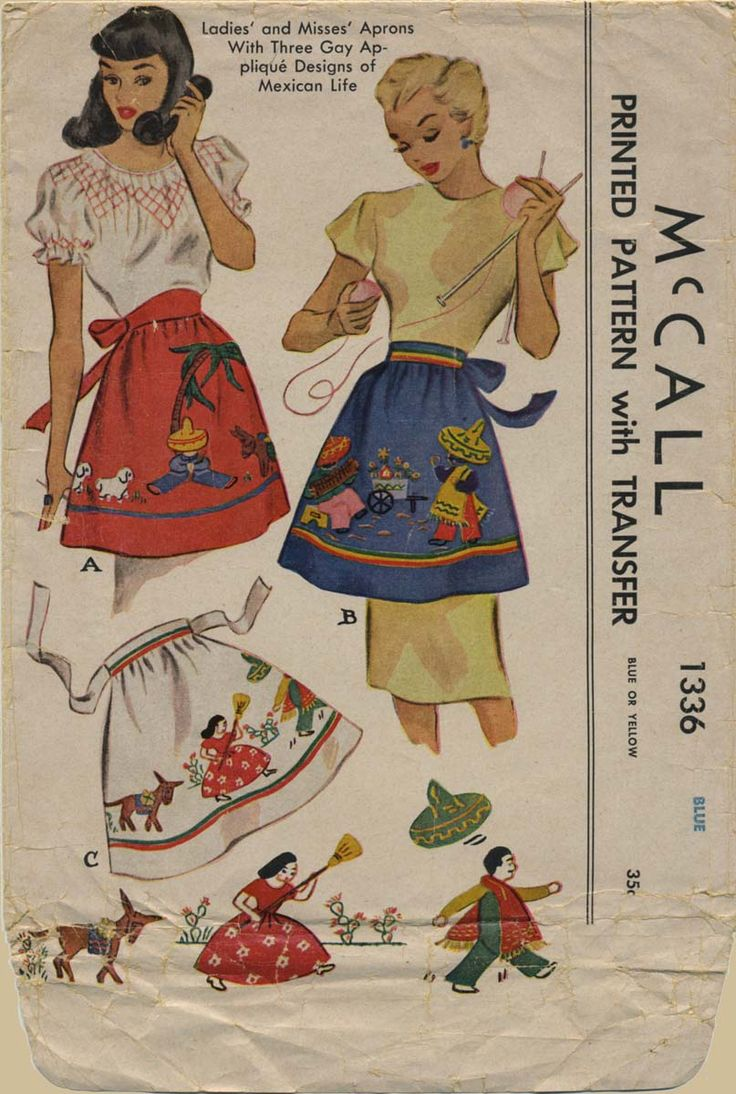 Vintage Apron Sewing Pattern | McCall 1336 | Year 1947 | One Size ~ find VAP FB https://www.facebook.com/VintageApronPatterns