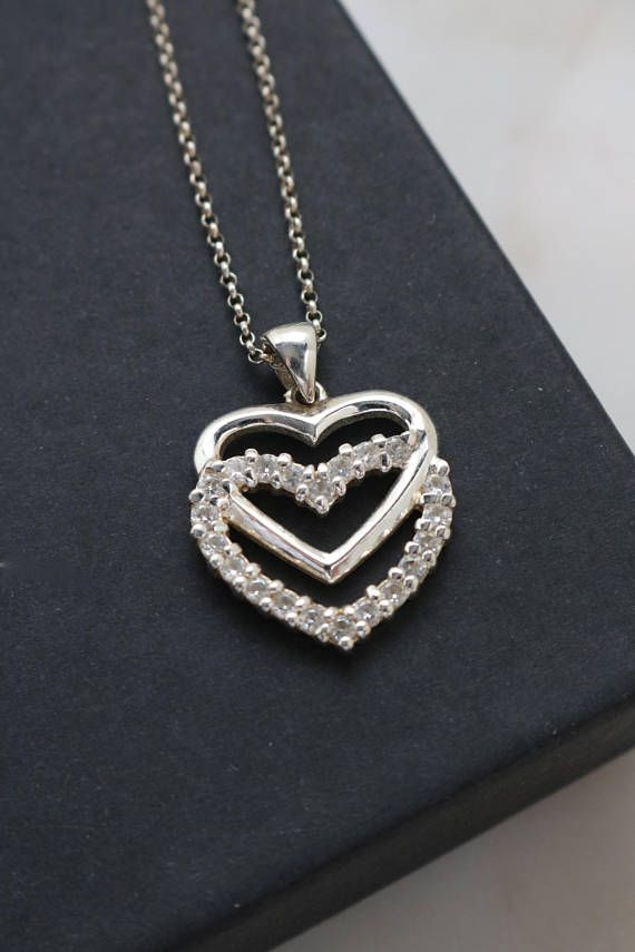 Sterling Double Heart Necklace  Crystal Cubic Zirconia