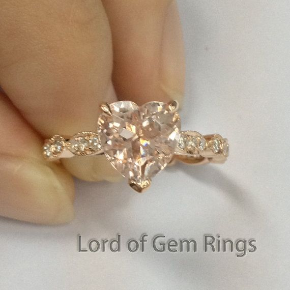 8mm Heart Shaped Cut Morganite Engagement Ring in 14K by TheLOGR