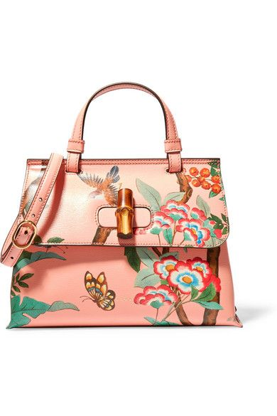 GUCCI Bamboo Daily printed textured-leather shoulder bag