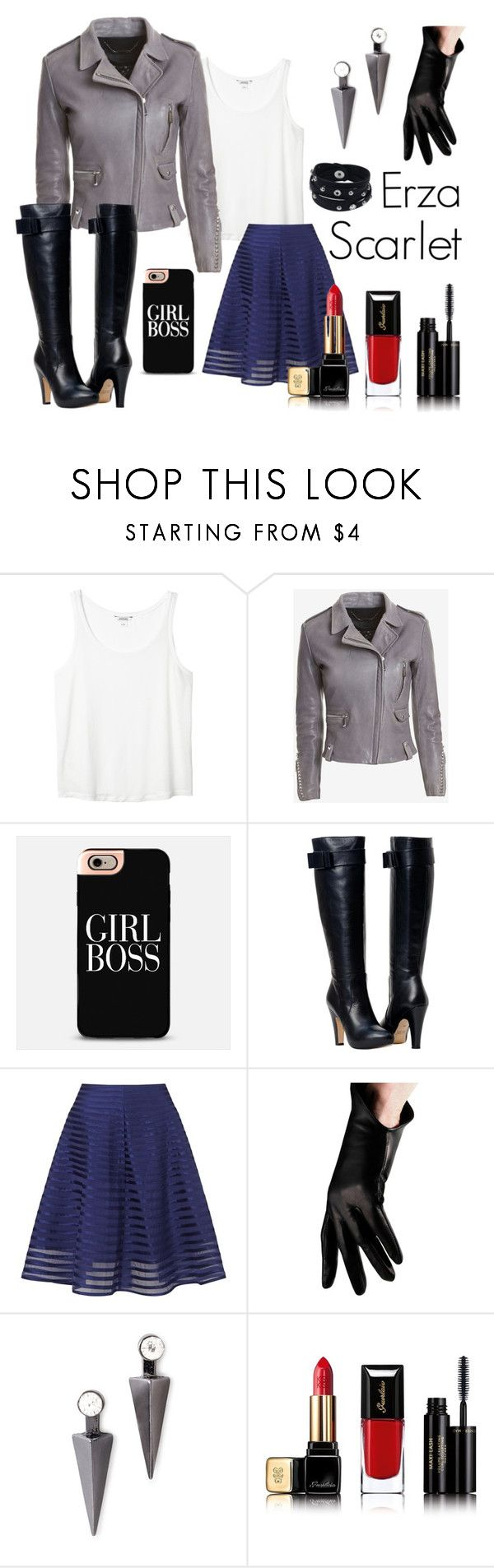 """Erza Scarlet"" by evxl ❤ liked on Polyvore featuring Monki, Barbara Bui, BOSS Black, Somerset by Alice Temperley, Urstadt.Swan, Forever 21, Guerlain, Vance Co., red and Leather"