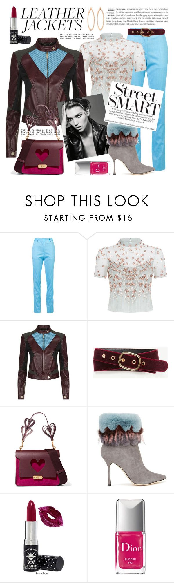 """Cool-Girl Style: Edgy and Feminine"" by sarina-noel ❤ liked on Polyvore featuring Victoria Beckham, Temperley London, Versace, Ann Taylor, Anya Hindmarch, Manolo Blahnik, Manic Panic NYC, Christian Dior, leatherjacket and fallfashion"