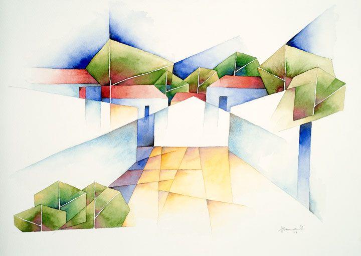 Dorf bei Epidaurus, 2008, Aquarell, 36 x 51 cm
