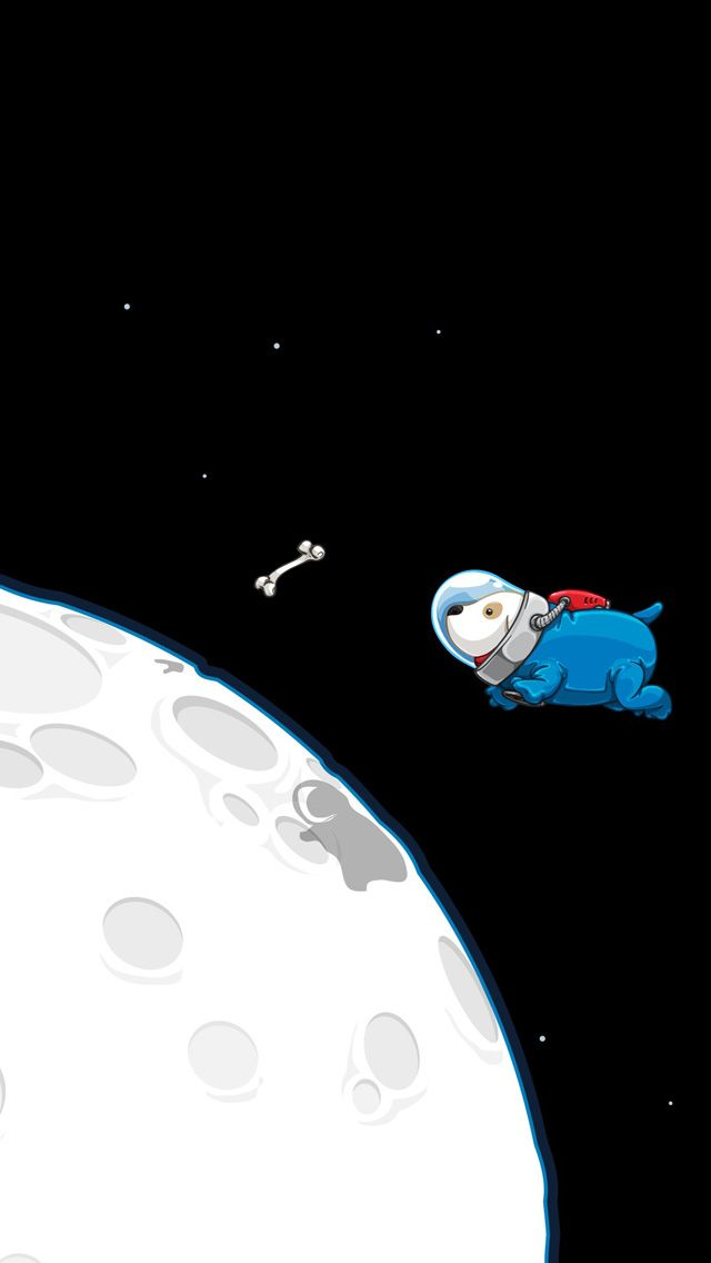 ↑↑TAP AND GET THE FREE APP! Art Creative Space Funny Dog Bone Astronaut Moon HD iPhone Wallpaper
