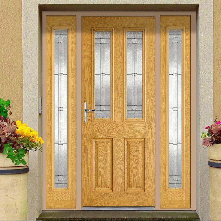 GRP Oak Malton Glazed Composite Door with Two Sidelights. #homedoor #extrance #elegantfrontdoor