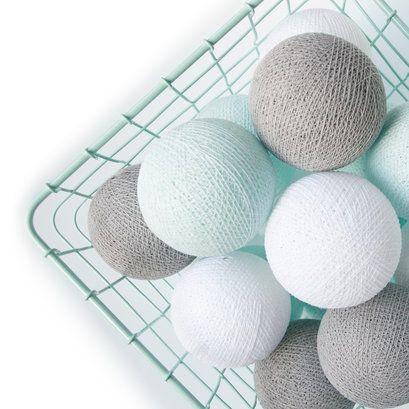 ... Lights slinger mint-wit-grijs M - Cotton Ball Lights - Verlichting