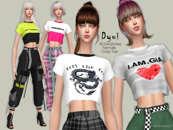 The Sims Resource: DYUI | sim tops | Sims 4, Crop tops, Sims