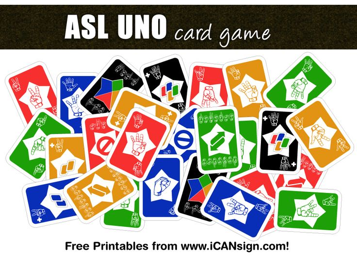ASL UNO card game. ASL Games and ASL Activities from www.iCANsign.com