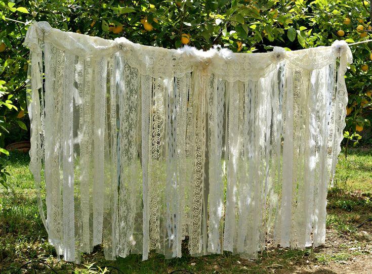 Boho Wedding Decor, Wedding Backdrop Curtain,Shabby Chic Romantic Bohemian Wedding Backdrop Garland Curtain, Boho Bridal Shower Decor, Heart