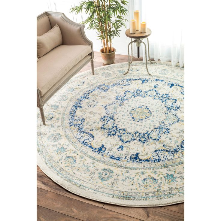 nuLOOM Traditional Persian Vintage Blue Round Rug (7'10 Round) (Blue), Size 8' x 8' (Polypropylene, Abstract)