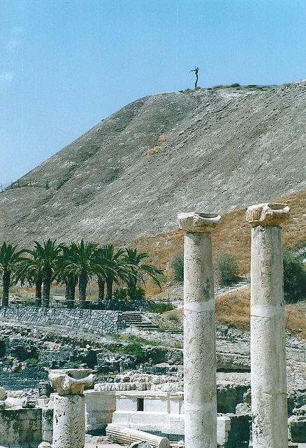 """Tel Beit Shean . Israel - the tree on the top of the tel is """"protected"""" because it was in the  70's movie, """"Jesus Christ, Superstar"""""""