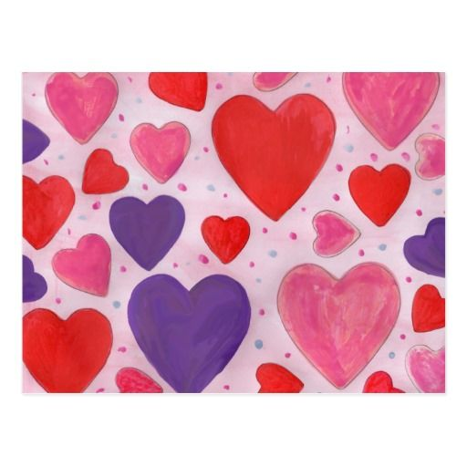 Red Pink and Purple Valentine's Day Hearts Design Postcard