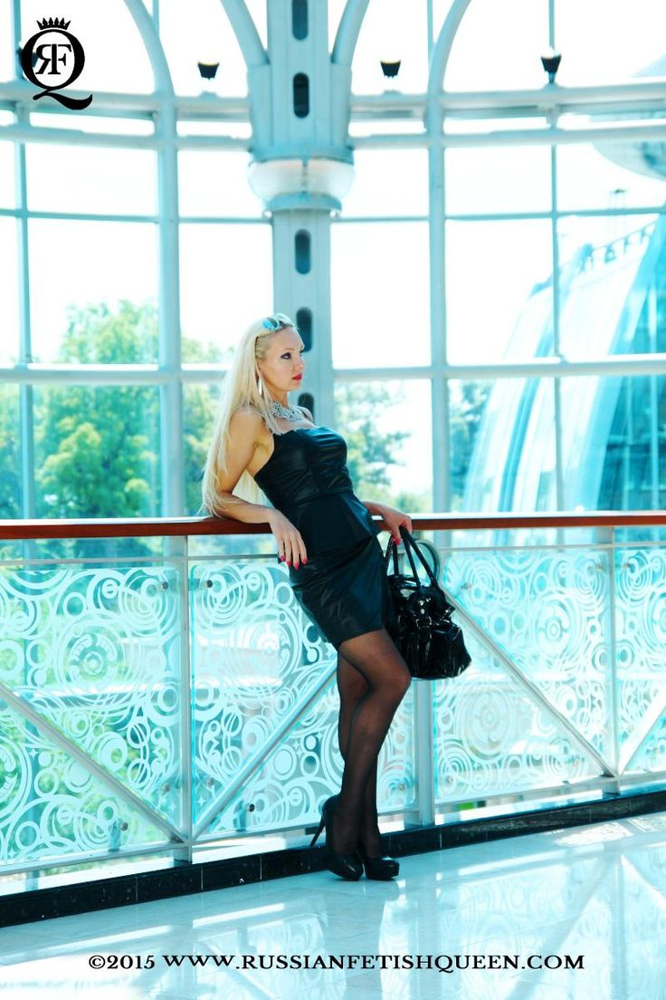 #RussianFetishQueen dressed in #sexy #black #leather #dress, black #glossypantyhose and wearing a #highheel #shoes going out for dinner after a long day of shopping.
