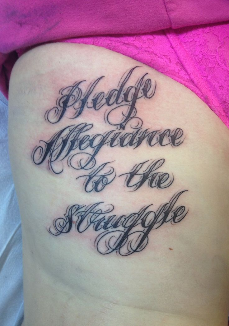 "Iggy Azalea - Work ""Pledge Allegiance to the Struggle"" tattoo"