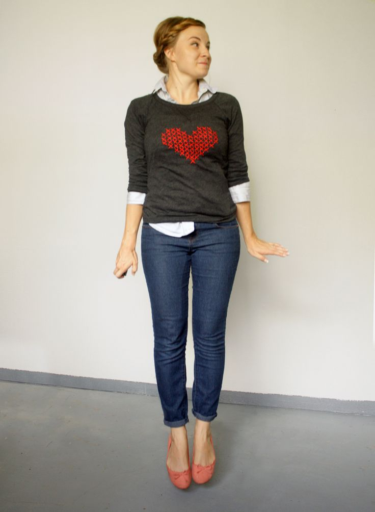 Über Chic for Cheap: DIY: Cross Stitch Heart Sweater  - cute idea for the nieces
