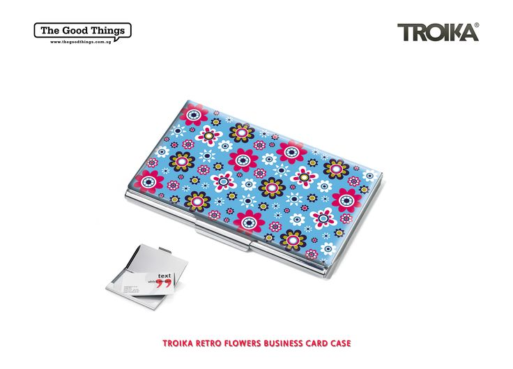 TROIKA RETRO FLOWERS BUSINESS CARD CASE.    Facebook networker is one side of the coin. Real networks are the other.   Business cards are essential if you want to introduce yourself and leave a lasting impression. An individual card case is always impressive. Take this one made of steel with attractive decoration.   #tgt #thegoodthings #troika