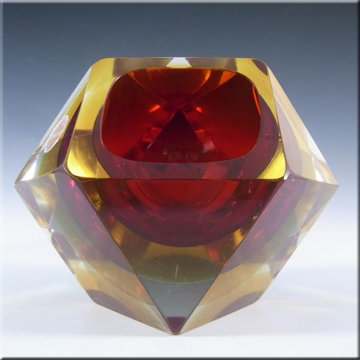 Murano Faceted Red & Amber Sommerso Glass Block Bowl #2 - £80.00