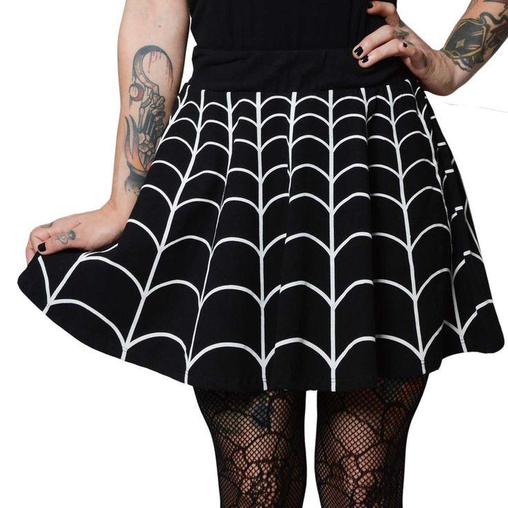 Inked Boutique - Web White Skater Skirt Punk Goth Psychobilly Gothabilly http://www.inkedboutique.com