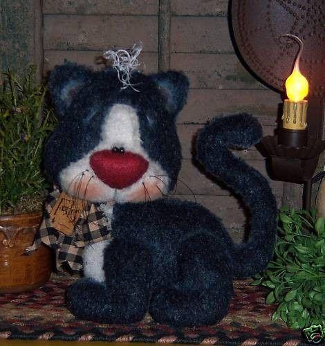 Primitive Raggedy Kitty Black Cat Doll Pattern by pattisratties, $10.95