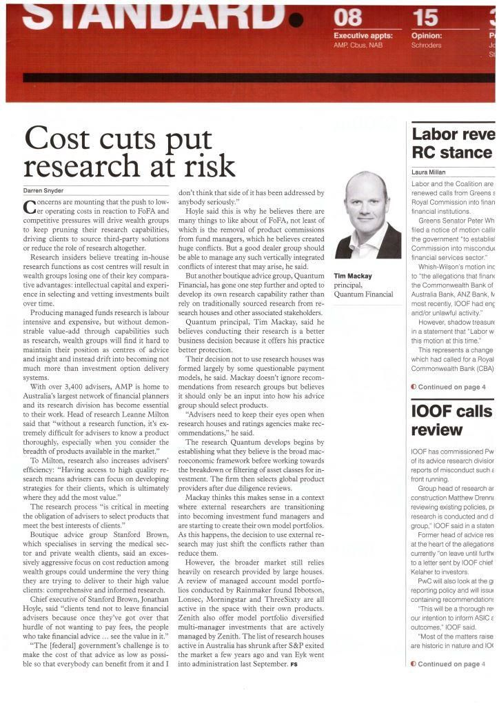 Tim Mackay gives his expert investing research views in this month's Financial Standard.