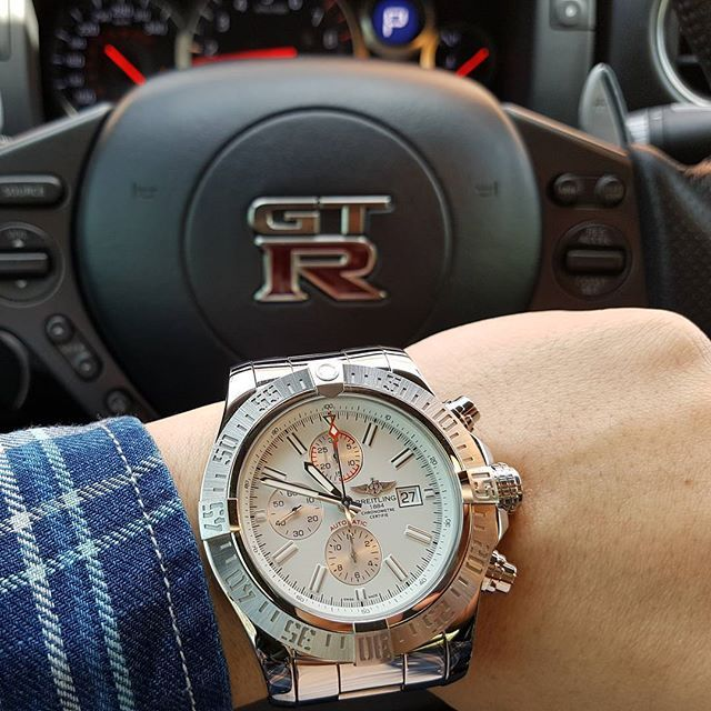 REPOST!!!  Breitling Super Avenger 2. One of my favourites that I don't wear too often.  Quick wrist shot while warming up the GTR #breitling #chronograph #niceweather #gtr #alphatuning #jdm🔰 #niceweather  Photo Credit: Instagram ID @m3_c63