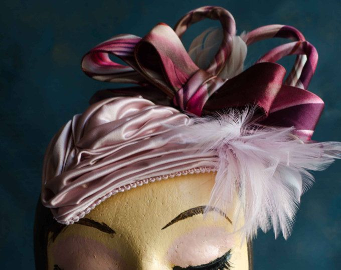 Vintage style headpiece, ruched, swathed, pleated, pink satin with co-ordinating bow and feather detail