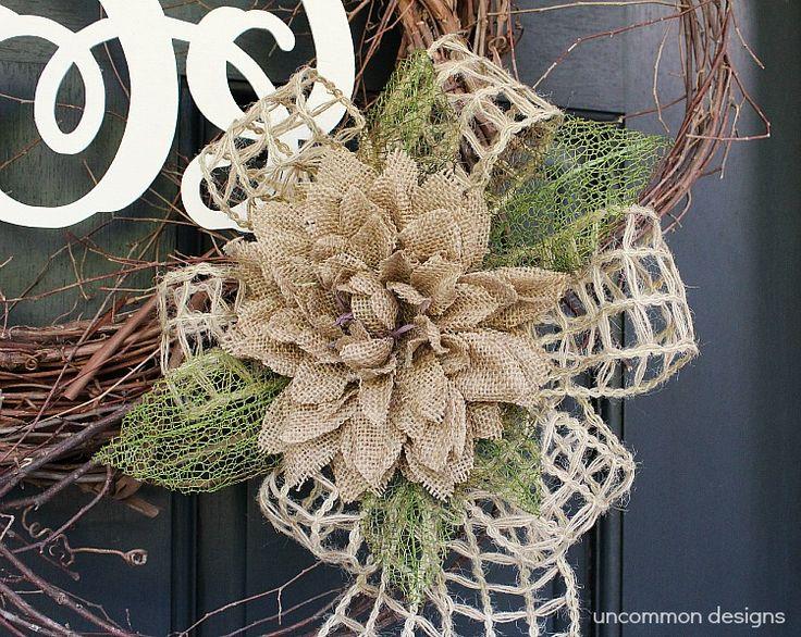 burlap and monogram wreath...shabby chic for a wedding or something similar!