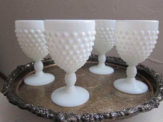 Vintage Fenton Hobnail Milk Glass Wine Goblets Glasses Set