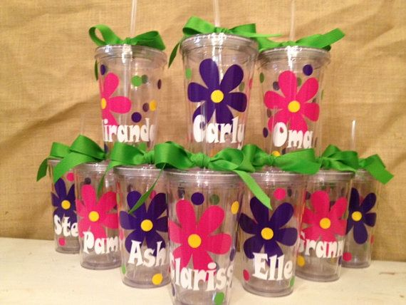 Birthday Party Tumblers. I just got one of the clear cups at dollar tree for $1