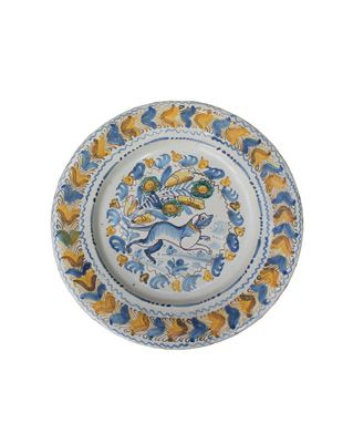 Charger, Faience, Dog motif