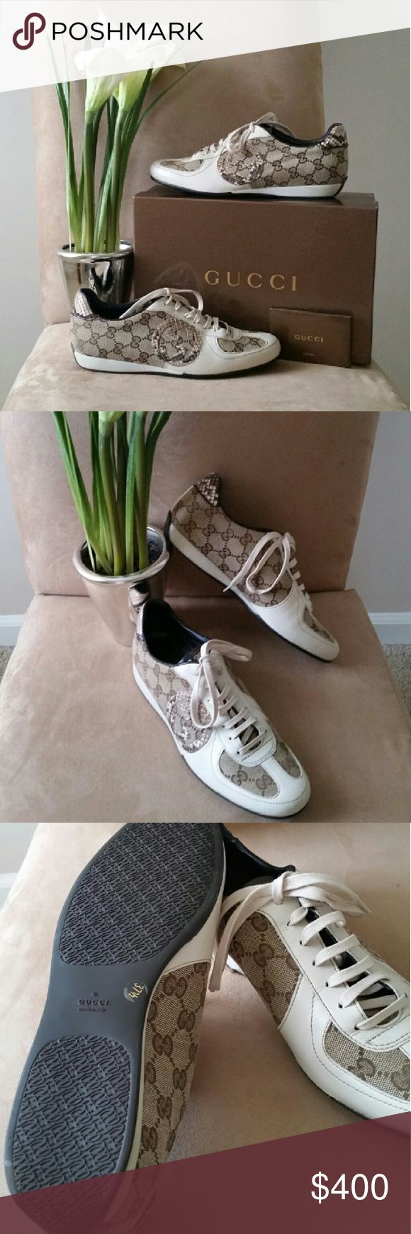 """*NEW GUCCI* Ladies Shoes! Beautiful w/capital """"B!"""" Never worn Gucci brown & cream sneakers. Comes with duster bags & box! Gucci Shoes Sneakers"""