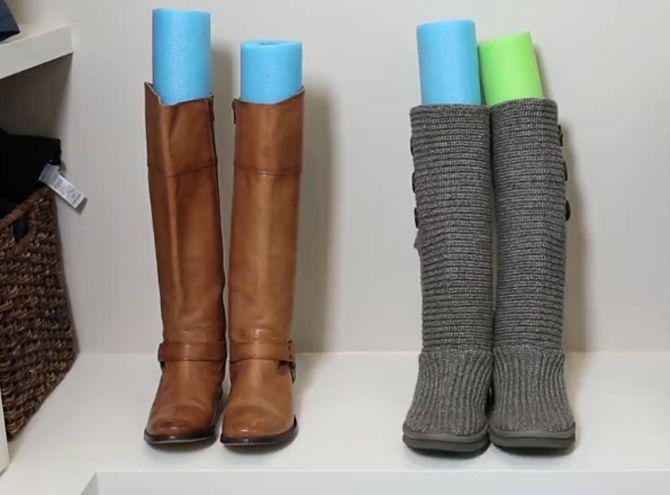 Dicas de organização – Conservação para botas de couro – Espaguete de piscina