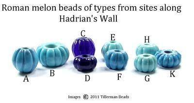 B And B Along Hadrian's Wall Large melon beads from sites along Hadrian's Wall. Tillerman Beads.