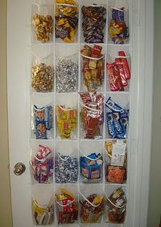 Storage Ideas - using a show holder a s a snack organizer. Great idea!